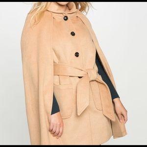 Eloquii Camel Cape Coat 18/20 with Belt:
